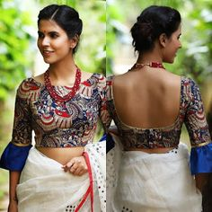 Tendance Tattoo : Best Kalamkari Blouse Designs for Cotton Saree Kalamkari Blouse Designs, Saree Blouse Patterns, Sari Blouse Designs, Fancy Blouse Designs, Designer Blouse Patterns, Latest Blouse Designs, Lehenga Designs, Dress Designs, Blouse Styles