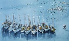 Fishing boats by Spyros Vassiliou Canvas Art For Sale, Art Paintings For Sale, Original Paintings For Sale, Acrylic Wall Art, Canvas Wall Art, Greece Painting, Greek Art, 10 Picture, Classical Art