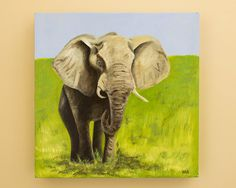 Original Elephant Painting by HeatherAnnOrlando on Etsy, $120.00 #art #oil #painting #elephant #africa