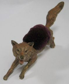 Terrific Antique Running Fox Edwardian Pin Cushion Metal Germany