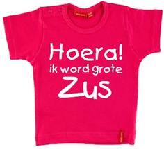 T-shirt |  Hoera! ik word grote zus| roze | maat 86/92 || simply colors || Hoera! Ik word grote zus. Een t-shirt korte mouw voor de grote zus die een broertje of zusje verwacht! Leuk om aan te kondigen dat er een baby op komst is. Het t-shirt is gemaakt van 100% katoen en wordt bedrukt met de tekst: ''Hoera! ik word grote zus'' in de kleur wit. Verkrijgbaar in meerdere maten....