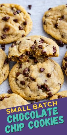 Small Batch Chocolate Chip Cookies - Crazy for Crust Small Batch Cookie Recipe, Favorite Cookie Recipe, My Best Recipe, Best Cookie Recipes, Best Chocolate Chip Cookies Recipe, Chip Cookie Recipe, Mini Chocolate Chips, Cooking Cookies, Peanut Butter Chips