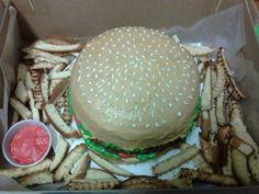 """Cheeseburger and fries"" Cake"