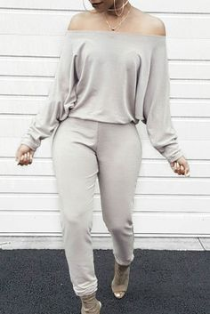 Off Shoulder Jumpsuit, Jumpsuit With Sleeves, Look Fashion, Fashion Outfits, Womens Fashion, Cheap Fashion, Fashion Ideas, Fashion Beauty, Fashion Trends
