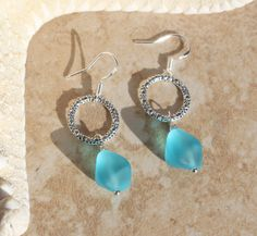 Silver Circle Dangle Earrings with Frosted aqua sea by InaraJewels