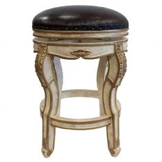 Roman Dark Brown Leather Swivel Seat Carved Wood Old World Tuscan Style Bar Stool