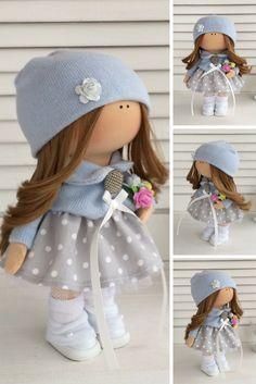 Fabric doll Tilda doll Rag doll Textile doll Muñecas Handmade doll Interior doll Art doll Grey doll Soft doll Cloth doll Baby doll by Maria