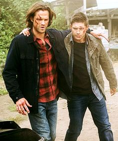 LOOK AT THIS! LOOK AT THEM! :') Dean just had the crap beat out of him but he doesn't even hesitate - doesn't even think about it - he just jumps out of the car to support Sammy and help him walk.