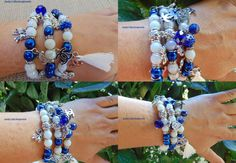 OOK multi 3 row pearls bangles/blue sapphire and white pearls bangles/unique CC inspired bow charms bangles/tassel charm bangle/gift for her by AndyCollectionJewels on Etsy