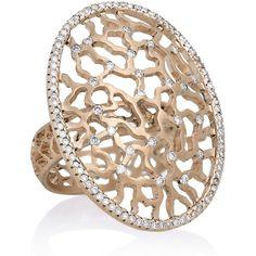 Ileana Makri 18-karat rose gold diamond ring ($7,890) ❤ liked on Polyvore