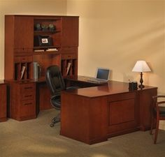 Mayline model Sorrento series high end executive furniture configurations including this professional wood veneer U shaped desk set are on sale now at Office Furniture Deals. U Shaped Office Desk, L Shaped Desk, Office Desks, Computer Desk With Hutch, Desk Hutch, Desk And Chair Set, Desk Set, Furniture Deals, Home Office Furniture