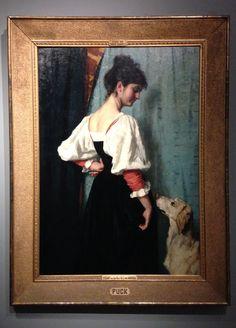 Jonge Italiaanse Vrouw met de hond Puck, Thérèse Schwartze, 1879