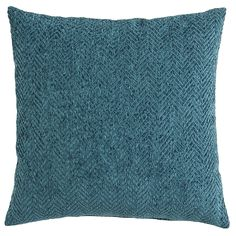 When it comes to color and texture, this pillow is rich. Ultra-soft chenille yarn is woven in a classically striking herringbone pattern. Let it stand alone as a bold teal accent in a neutral room, or mix and match with our patterned pillows for a wealth of personality.