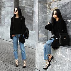 Holynights Claudia - Romwe Chunky Knit Bell Sleeves Sweater, Vipme Backpack, Vipme Bag, Locman Watch - Chunky flare sweater