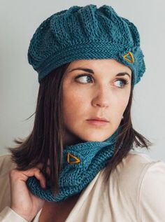One Skein Knitting Pattern for Herringbone Beret and Cowl - #ad One skein of DK yarn makes both hat and cowl in this herringbone stitch set. City Mouse Hat and Cowl More pics on Etsy tba