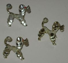 Retro Silver-tone set-of-3 Poodle scatter pins