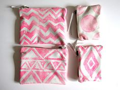 printed leather pouches