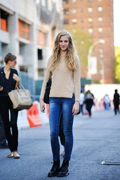 Sweater with zippers, jeans and Doc Martens