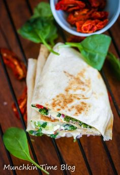 You will love Healthy Greek Quesadilla Recipe for breakfast. Made of baby spinach, feta cheese, black olives, sun dried tomatoes and mozzarella cheese.