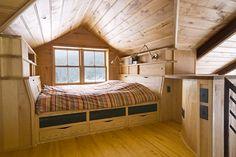 Pine or cedar bead-board walls in attic - I prefer this wide board look.