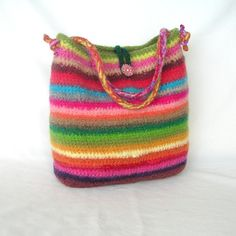 Crochet Pattern Rainbow Felted Bag - funky and cute, I like it!