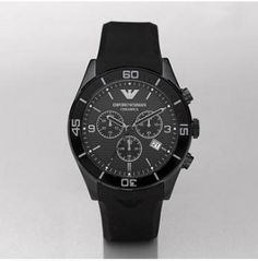 This is an elegant men's Emporio Armani Ceramica model in a quality black ceramic case and rubber strap. Modern Watches, Fine Watches, Cool Watches, Emporio Armani, Giorgio Armani, Armani Watches For Men, Elegant Man, Casio Watch