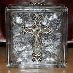 Lighted Glass Block with Christian Cross   Wedding by TipsyGLOWs, $25.00