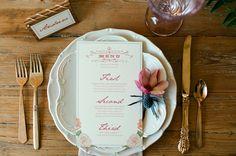 floral calligraphy menu