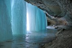 Behind a completely Frozen Waterfall