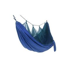 NOVICA Portable Parachute Blue Hammock with Mosquito Net (Double) (€80) ❤ liked on Polyvore featuring home, outdoors, patio furniture, hammocks & swings, blue, fabric, hammocks, homedecor, novica and lightweight hammock