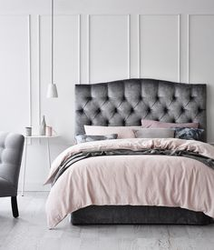 Gray tufted suede headboard