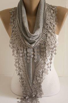 Light grey Lace Shawl Scarf Lace Gray Spring Scarf  Shawl #accessories #fashion #women #trend #gift #scarf