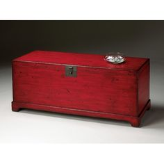 Butler Artist's Originals Cocktail Trunk Table in Distressed Red - inspiration for kitchen table