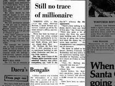 Clipping found in The Ottawa Journal in Ottawa, Ontario, Canada on Dec Still no trace of millionaire Ottawa, Be Still