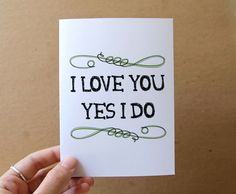 i love you yes i do handmade greeting card green by letterhappy, $3.00