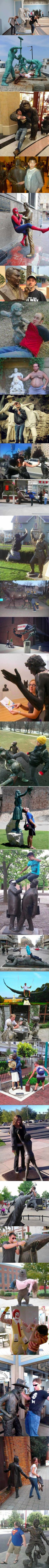 Statues having fun with people is part of humor - More memes, funny videos and pics on Really Funny Memes, Stupid Funny Memes, Funny Laugh, Funny Relatable Memes, Funny Posts, Funny Stuff, Fun With Statues, Funny Images, Funny Pictures