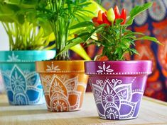 All these easy pot painting ideas and designs for beginners are a true inspiration and help you re-create beautifully crafted hand-painted pots. Flower Pot Crafts, Vase Crafts, Clay Pot Crafts, Diy Flower, Diy Crafts, Painted Plant Pots, Painted Flower Pots, Flower Planters, Cactus Planters