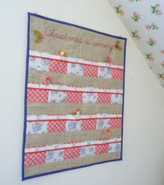 Christmas quilted advent calendar Linen with 24 by SewSweetViolet