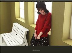 Crew Neck Loose Long Sleeve T-shirt  Spotty Cami Dress Red on BuyTrends.com, only price $10.63