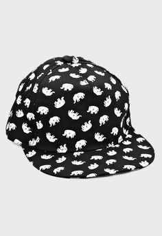 Super cute elephant print snapback cap hat perfect for this spring! Black  with white elephants 1b2d6c6e88