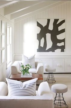 Love the neutral colors in this bright, clean living room design.