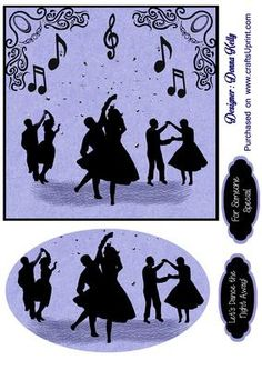 silhouettes someone special on Craftsuprint designed by Donna Kelly - multi purpose card front, silhouettes in the dance hall, includes an embelishment and two tags approx. 6x6 - Now available for download!