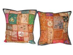 Boho Home Decor -2 Patch Work Beaded Vintage Sari Toss Pillow Shams, Cushion Covers by Mogul Interior, http://www.amazon.com/dp/B00BSO9HGK/ref=cm_sw_r_pi_dp_tbjwrb0H747ST