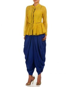 PAYAL PRATAP Mustard Yellow Peplum Shirt & Royal Blue Dhoti Pants