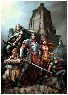 Party of 5 Mountain Castle cliffs fog Adventuring Party - Pathfinder PFRPG DND D&D fantasy Fantasy Warrior, Fantasy Rpg, Dark Fantasy Art, Fantasy World, Fantasy Heroes, Dnd Characters, Fantasy Characters, Dungeons E Dragons, Fantasy Party