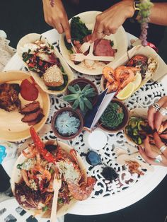 Outdoor summer table of lobster feast - garden party - Soho House Fest