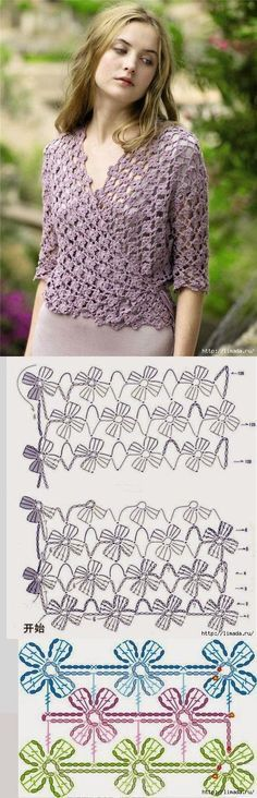 Crochet top pullover with diagram cross body shirt
