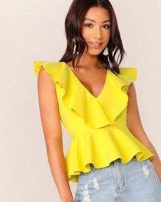 Double V Neckline Ruffle Trim Peplum Top Check out this Double V Neckline Ruffle Trim Peplum Top on Shein and explore more to meet your fashion needs! Peplum Tops, Fashion News, Fashion Outfits, Fashion Styles, Look Blazer, Ruffle Trim, Blouses For Women, Women's Blouses, Ideias Fashion
