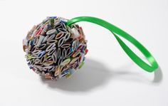 """2""""  paper ornament - made from recycled magazines"""