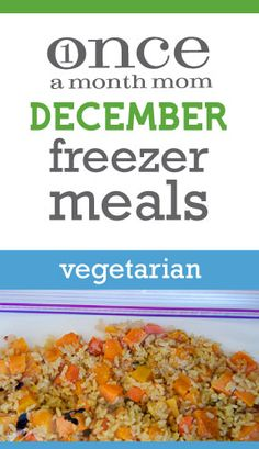 Freezer menu for those eating vegetarian. All you need to make all your meals for the month in one day. Veggie Freezer Meals, Slow Cooker Freezer Meals, Make Ahead Freezer Meals, Freezer Cooking, Bulk Cooking, Easy Meals, Cooking Recipes, Frozen Meals, Family Meals